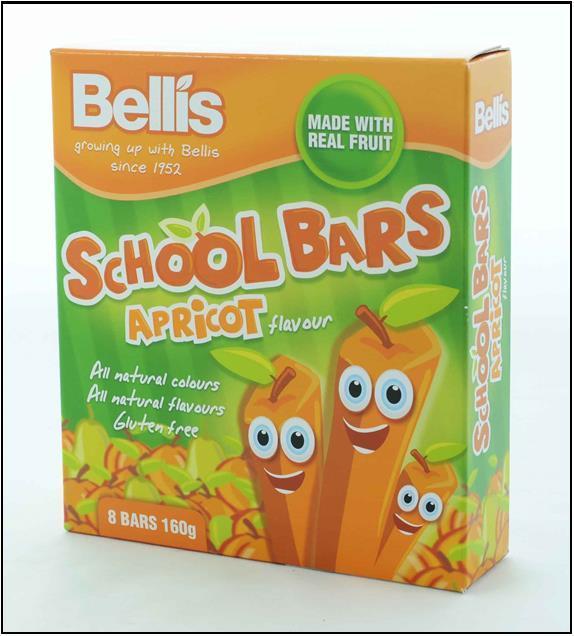 Bellis Apricot School Bars 12x160g
