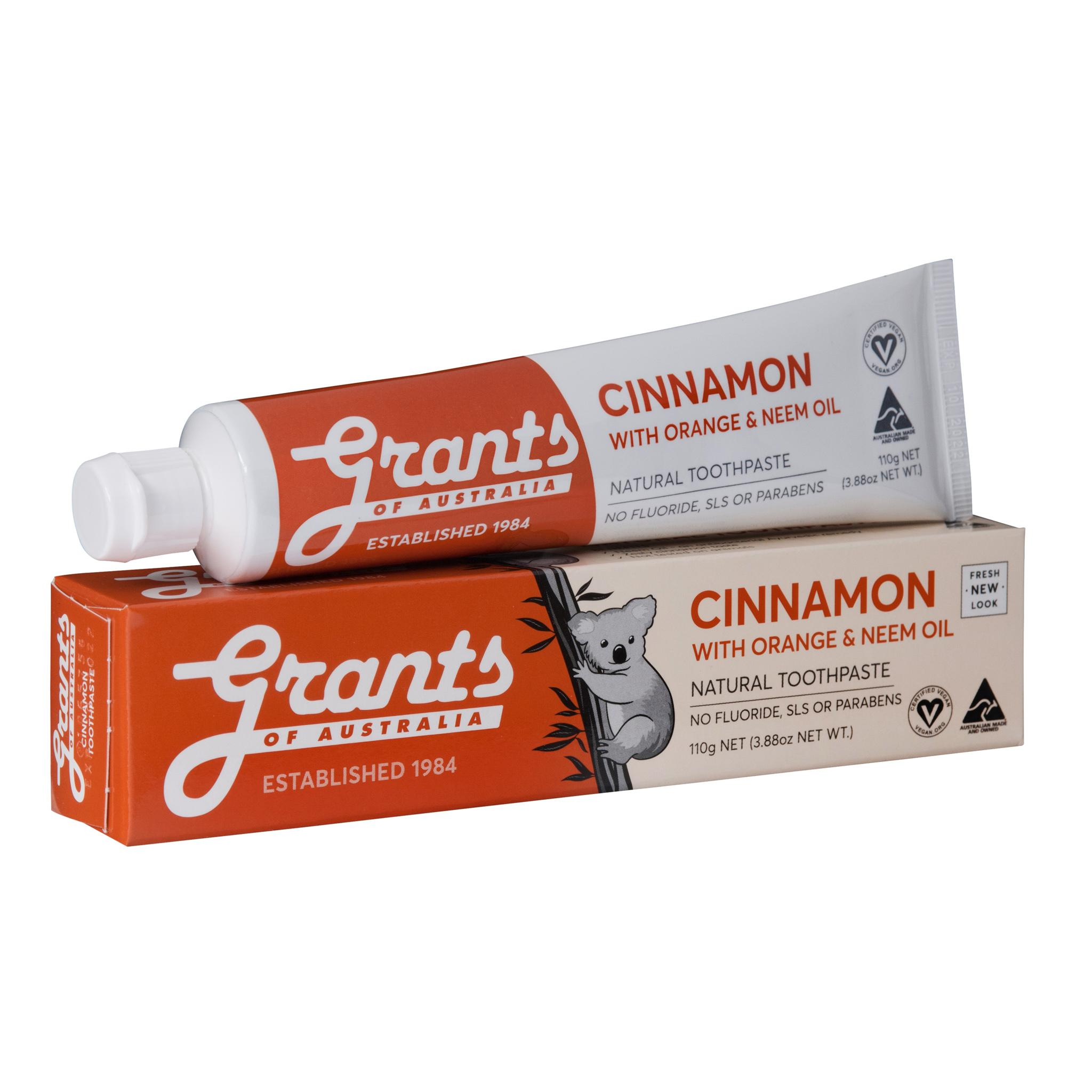 Grants Cinnamon Zest Toothpaste with Orange and Neem Oil 110g