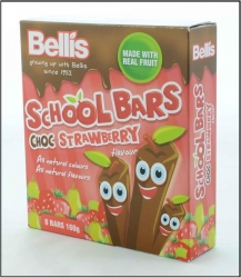 Bellis Choc Strawberry School Bars 12x160g