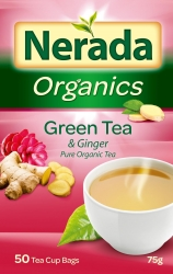 Nerada Organic Green Tea & Ginger Pure 50 Teabags