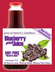 Blueberry 100% Pure Natural Juice 12x1litre - Click for more info